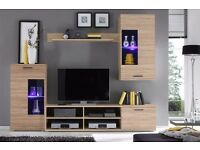 LIVING ROOM SET FRONTAL, STYLISH, CHEAP, TV UNIT, STORAGE, SHELVES, LED LIGHTS, DELIVERY AVAILABLE!