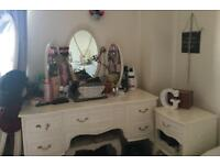 Distressed style furniture - whole set - dressing table, drawers