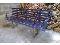 Large steel 3-4 seater park bench with stainless steel legs