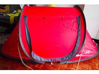 eurohike 2 man pop up tent, sleeping bag and ricksack