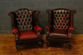 Pair of Chesterfield Oxblood Armchairs