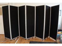 Mobile Folding Room Divider - 7 panel 1800mm high