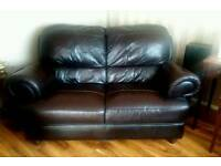 Brown Real Leather 2 Two Seater Sofa Settee