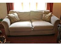 Large Beige Fabric Sofa/Settee - must go!