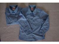 School Uniform – Blue John Lewis Long Sleeve Blouse, Pack of 2, 5 Years