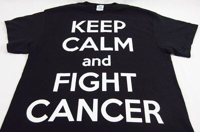 - Mens NEW Keep Calm And Fight Cancer Black Short Sleeve T-Shirt Size Large