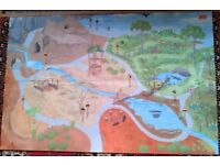 Le Toy Van Safari Playmat 1m x 1.5m. Very colourful with various habitats / animal areas
