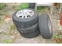 set of 4 honda civic mk vii alloy wheels - with good michelin winter tyres