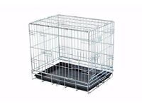 """Dog crate/cage 24"""" (by Doghealth CK24, silver, plastic tray)"""
