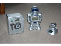 3 Super Xmas Gifts for children: Voice activated safe; Robot Bank & clock; Alarm clock