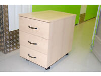 3-drawer roller pedestal in light wood effect (suitable as printer station)