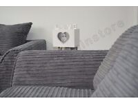 Dylan Byron Grey Fabric Jumbo Cord Sofa Settee Couch 3+2 Seater (Unused)