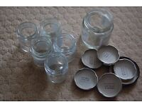 8 small jam jars - 6 tiny, 2 a bit bigger - ideal for individual portions (maybe for B+B owner ?)