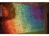Multi coloured rainbow shagg pile rug small