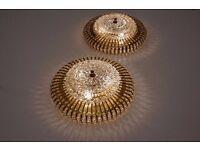 Hillebrand brass, glass & Lucite bead large pair lights, 1960`s ca, German