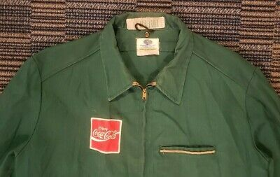 COKE COCA COLA GREEN UNIFORM JACKET COAT SIZE 44-L  FRONT ZIPPER Delivery Driver