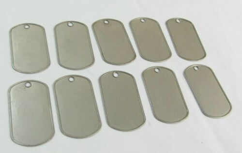 Lot 10 New NOS Military Vietnam Era Rolled Edge Matte Blank Dog Tags 5 Pair 2F4