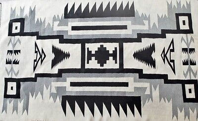 Antique Navajo Rug Two Grey Hills Native American Storm Pattern Tapestry 1940