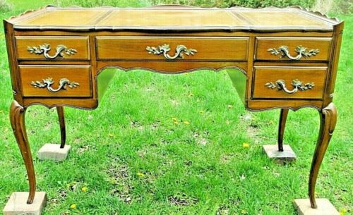 """48"""" FRENCH writing DESK Tooled Leather GALLERY Gabriole Leg Deliveries just ask"""