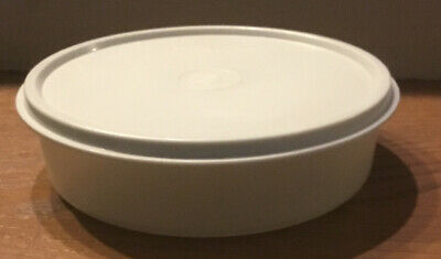 """Tupperware Clear White 6"""" Round Bowl 1405-13 with 6 1/2"""" Grey Lid 227-79"""