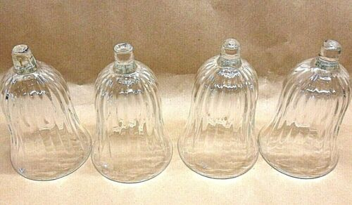"""4 HOMCO VTG CHANTILLY PATTERN CLEAR GLASS VOTIVE CUP CANDLE HOLDERS  4 3/4"""" T"""