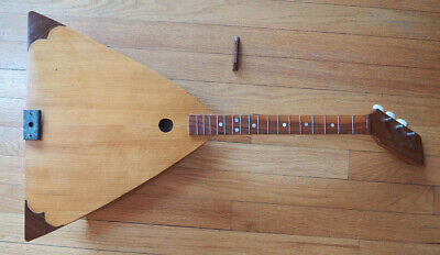 Unusual vintage handmade one of a kind balalaika Russian folk string instrument