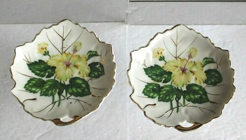 Two Vintage Nasco Japan White China Butter Pat or Tea Bag Holder Yellow Hibiscus
