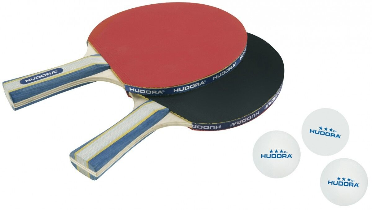 HUDORA Tischtennisset New Contest 2 Tischtennisschläger und 3 Bälle incl.Tasche