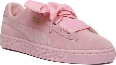 Puma Suede Heart Youth Suede Trainer In Pink Black Size UK 3 - 6