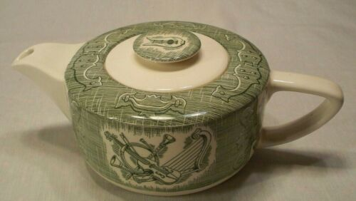 Vintage Royal China Old Curiosity Shop Green Ivory Teapot with Lid Hard to Find