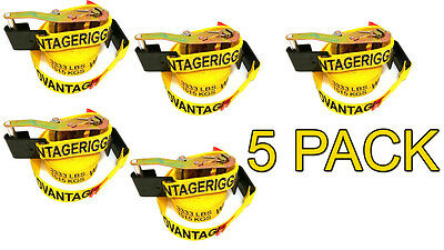 5 Pack - Transport Ratchet Strap - Flat Hook 27 Foot 2 Hauling Trailer Load