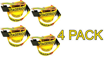4 Pack - Transport Ratchet Strap - Flat J Hook 27 Foot 2 Hauling Trailer Load