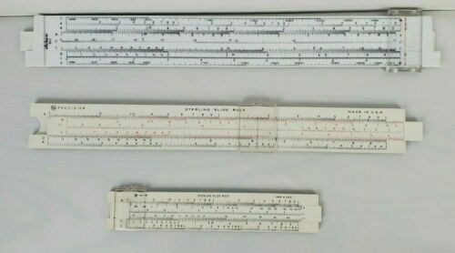 Set of 3 Slide Rules Sterling Precision Pickett 80 in Case with instructions