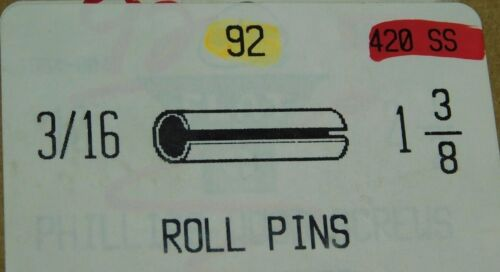 """(92-PACK!) 420 Stainless Slotted Roll Spring Pin 3/16"""" Dia x 1 3/8"""" Length NH"""
