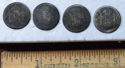 Antique Waistcoat Silver Buttons, 1700s MO 1/2 Reales