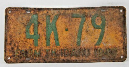 1940 IDAHO License Plate Collectible Antique Vintage 4K-79