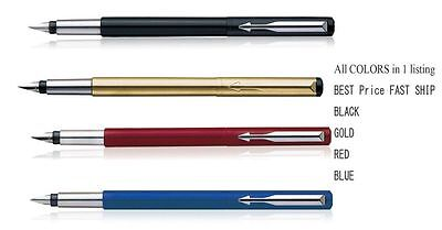 4 x Parker Vector Four Colors Black, Gold, Red, Blue Fountain Pen - USA SELLER