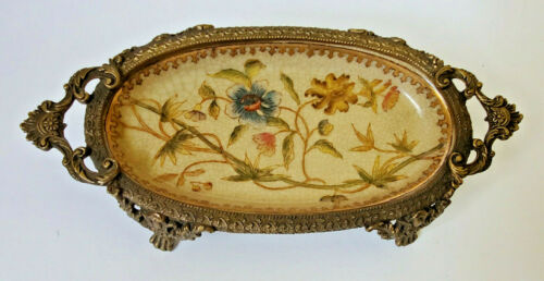 Oriental Vintage Floral Brass & Porcelain Soap Trinket Dish