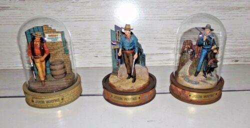 3 John Wayne Limited Edition Franklin Mint Hand Painted Figure Sculptures