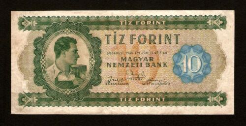 """Hungary Ungarn 10 Forint 1946 with """" A """" letter. Pick #159 . Very rare banknote"""
