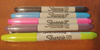 New Sharpie Permanent Marker Twin Tip Fine Ultra Fine Lot Of 5 Assorted Colors