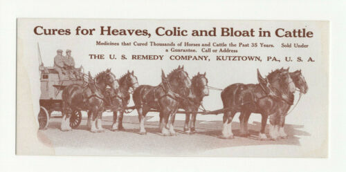 Vintage Old Veterinary Medicine Blotter Heaves Colic Bloat Cattle Horses