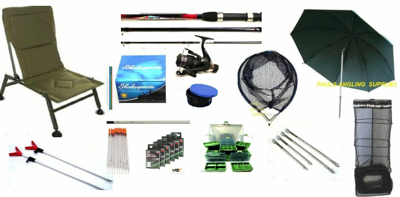Float fishing kit shakespeare rod reel chair net for Floating fishing chair