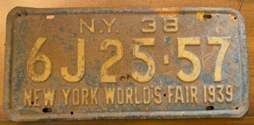 Rare All Original 1938 New York License Plate Worlds Fair 1939 6J25-57