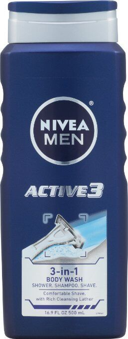 NIVEA Men Shower and Shave 3-in-1 Body Wash 16.9 Fluid Ounce