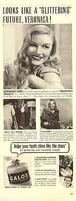 1940s vintage ad for Calox Tooth Powder, Veronica Lake