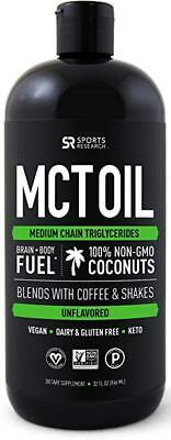 Premium MCT Oil derived only from Coconut Oil - 32oz BPA fre