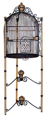 Large Bird Cage Black and Gold - Life Size Bird Cage - Royal Birdcage - 6FT