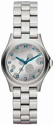 NEW MARC JACOBS MBM3269 HENRY SILVER STEEL STRAP PAINTED TEAL DIAL WOMEN'S WATCH