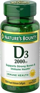 Nature's Bounty Vitamin D3 2000 IU ~ 150 Rapid Release Liquid Softgels